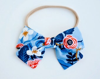 Hair Bow, Bow Headband, Headband, Headbands, Fabric Hair Bow, Baby Bow, Bow,  Alligator Clip, Rifle Paper Co - Birch Floral In Periwinkle