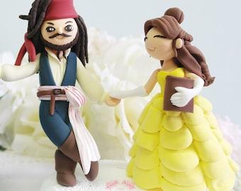 Custom Cake Topper - Jack Sparrow & Belle