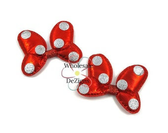 "Minnie Mouse Inspired Red Bows - Metallic Appliques with Silver Dots - Flat Back Padded Puffy Puff Bow Embellishment 2.5"" - DIY Bows"