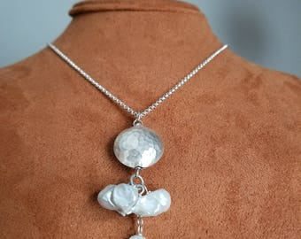 Pearl Necklace Drop Silver Y Sterling Silver Keshi Freshwater For Women Gift Handmade White Pearl Chain Designer Unique Grade A