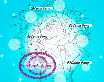 Digital Stamp, Digi Stamp, Digistamp, Conie Fong, flowers, bouquet, Coloring Page, birthday, mother's day, get well, sympathy