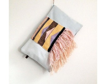 Weaved &  Denim Clutch