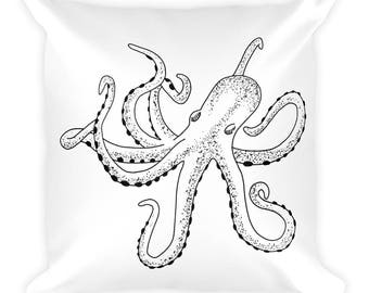 Square Pillow | octopus pillow | nautical pillow | ocean pillow | cottage decor | coastal decor | throw pillows | home decor | pillows