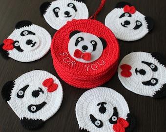 Crochet Panda mug rugs, Set of 6 mug coasters, Mug rugs in gift case can be personolized