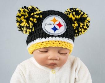 Steelers baby girl, hat, newborn, preemie
