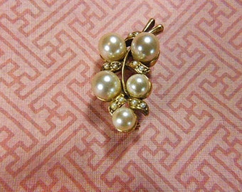Vintage Gold and Pearl Cluster Brooch - BR-563 - Pearl Brooch - Pearl and Gold Brooch - Pearl Cluster