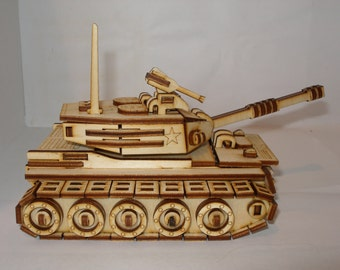 Small tank, apache or hummer  model plywood laser cut kit or  assembled model