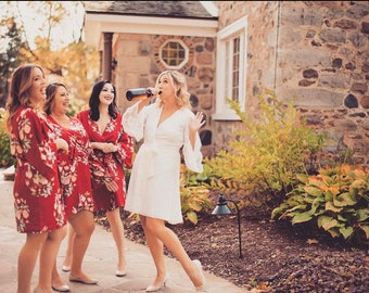 Deep Maroon / Premium Cranberry Bridesmaids Robes - Dreamy Angel Song Pattern - Soft Rayon Fabric - Better Design - Getting ready robes