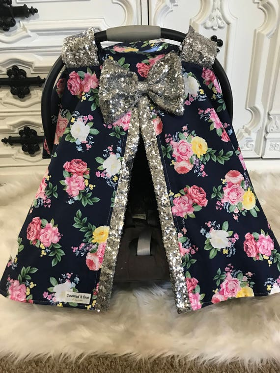 Car seat canopy , navy floral with silver sparkle