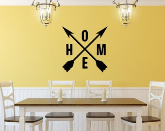 Home Crossed Arrows | Vinyl Wall Decal | Home Lettering | Crossed Arrows | Farmhouse Decor | Rustic Decal | Kitchen Wall Decor | 22613