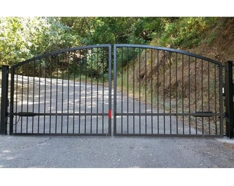 Free shipping custom automatic wrought iron redwood swing free shipping standardgates custom size metal steel wood security gates wrought iron black dual solutioingenieria Gallery