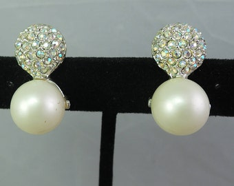 Beautiful Large Pearl and Pave Aurora Borealis Rhinestone Clip Earrings c1960s