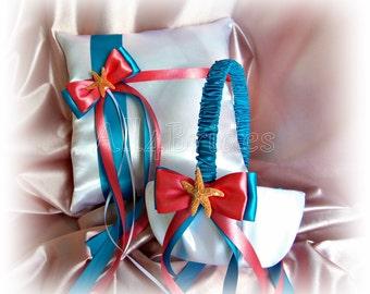 Starfish wedding coral and turquoise ring bearer pillow and flower girl basket