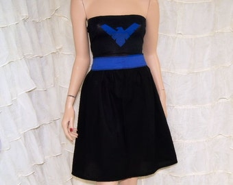 Nightwing Dark Blue Black Strapless Summer Sun Dress Cosplay Costume Adult All Sizes MTCoffinz