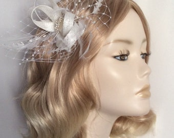 WHITE BRIDAL FASCINATOR, With Feathers, Net, crystal detail, all on a clip