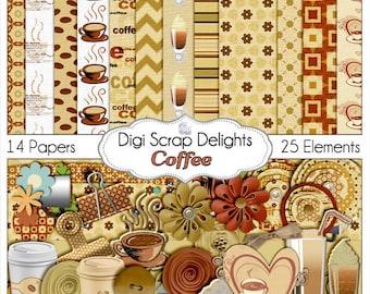 Coffee Digital Scrapbook Kit (coffee clip art for scrapbooking, web design, crafts, card making, etc), Instant Download