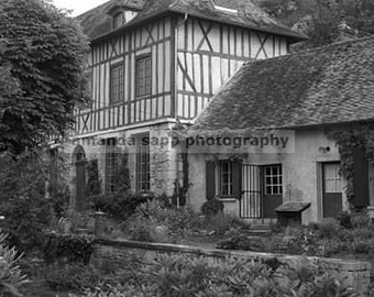 French country house normandy black and white photograph