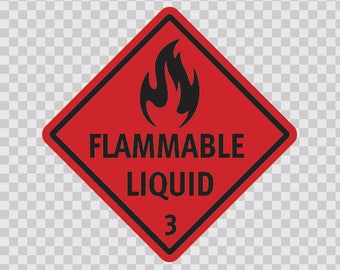 Stickers decal Flammable Liquid Motorbike Weatherproof safety sign 14262