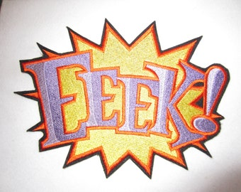 Extra Large Embroidered Super Hero EEEK Iron On Applique, Iron On Patch, Super Hero