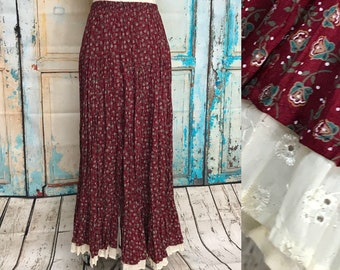 Scully Red Calico Pleated Western Maxi Skirt Eyelet