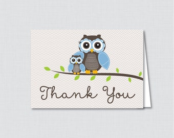 Printable Owl Thank You Card - Printable Instant Download - Blue Owl Baby Shower Thank You Card, Brown and Blue Owl - 0006-B