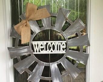 Windmill door hanger, windmill door decor, windmill decor, farmhouse decor, farmhouse, wooden door hanger, windmill, welcome door hanger