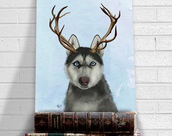 Siberian husky with antlers - husky dog print husky art print husky wall art funny home décor Whimsical Animal art pop surrealism lowbrow