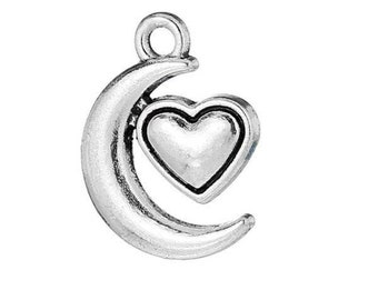SET of 3 Silver heart (A15) Moon charms
