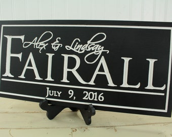Family Name Sign, Last Name Sign, Wood Signs, Personalized Gift, Wedding Gift, Housewarming Gift, Established Sign