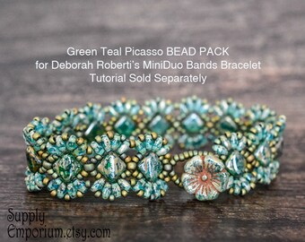 Bead Kit BB58 for Green Teal Picasso MiniDuo Bands Bracelet by Deborah Roberti, Tutorial Sold Separately BB-58