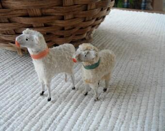 2 antique German putz sheep