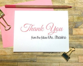 Personalized Bridal Shower Thank You Cards - Thank You from the future Mrs. Thank You Cards - Custom Wedding Shower Stationery