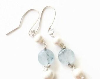 Aquamarine and Pearl 925 Silver Drop Earrings
