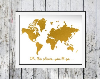 Downloadable Print, World Map, Gold foil effect, Minimalist art, printable wall art, Wall decor