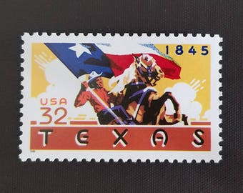Five (5) vintage unused postage stamps - Republic of Texas // 32 cent stamps // Face value 1.60