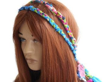 Colored Crochet hair band, Double headband, Boho Hair band, Bohemian Headband, Gypsy hair band, Rainbow headband, halo headband