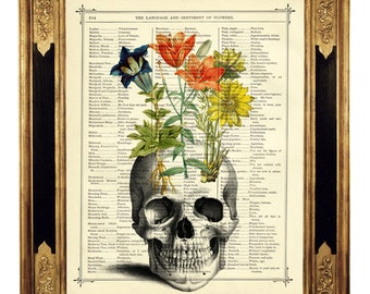 Human Skull Art Print Flowers Gothic Halloween - Vintage Victorian Book Page Dictionary Art Print Steampunk