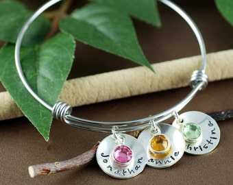 Silver Family Bracelet, Personalized Name Bangle Bracelet, Silver Bangle Charm Bracelet, Custom Name Bracelet, Mothers Bracelet
