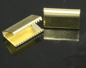 "ribbon crimp ends cap, 100 pcs 10 x 16 mm 3/8"" x 5/8"" raw brass ribbon crimp ends, raw brass ribbon crimp end, findings 1789"