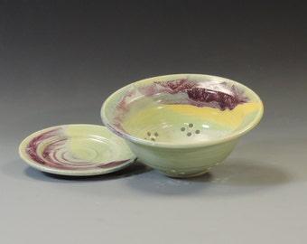 BERRY BOWL w/PLATE yellow/green/purple glaze
