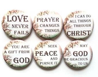 Christian Magnets Inspirational Uplifting Quote Magnets Christian Gift Magnets Motivational Church Fridge Refrigerator Magnets, 6/Set