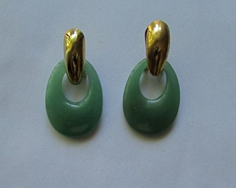 Aventurine oval hoops earings