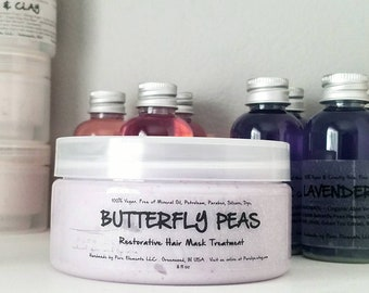 Natural Shea Butter and Clay Deep Treatment Hair Mask for Dry, Dull and Damaged Hair - with Butterfly Peas, Plant Extracts and Protein