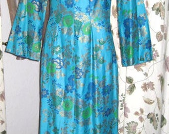 Vintage 60s Mandarin Dress - Turquoise and Gold - Handmade - S - Cheongsam