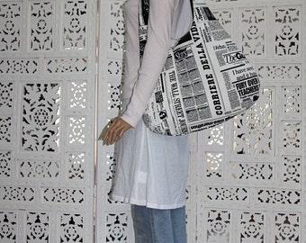 newspaper prints extra large hobo bag/newspaper shoulder bag/black white large hobo bag/newspaper printed purse