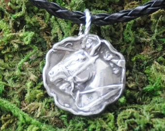 Fine Silver Metal Clay Nobility Horse Pendant Charm Necklace with 18 inch cord