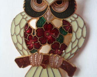 Fabulous Vintage Signed Fish Cloisonne White Owl Brooch/Pin   Red Branch