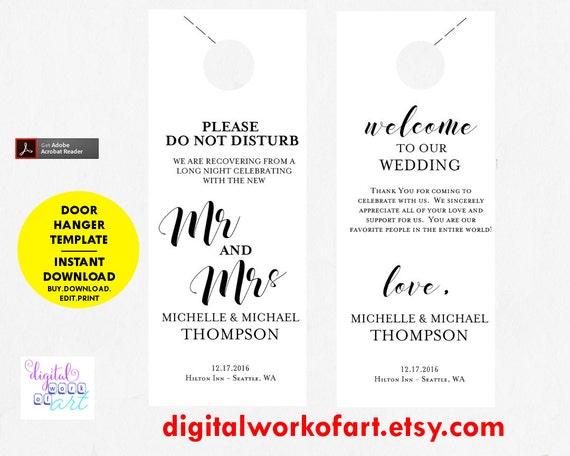 Wedding Door Hanger Template Door Hanger Printable Please Do
