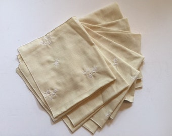 Pale Light Yellow Linen Embroidered Table Napkins (Set of 7)