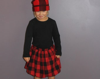 Girls Red and Black Buffalo Check Bubble Skirt
